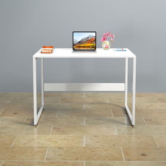 Bàn làm việc CZN-Havant gỗ tự nhiên sơn trắng chân trắng - COZINO