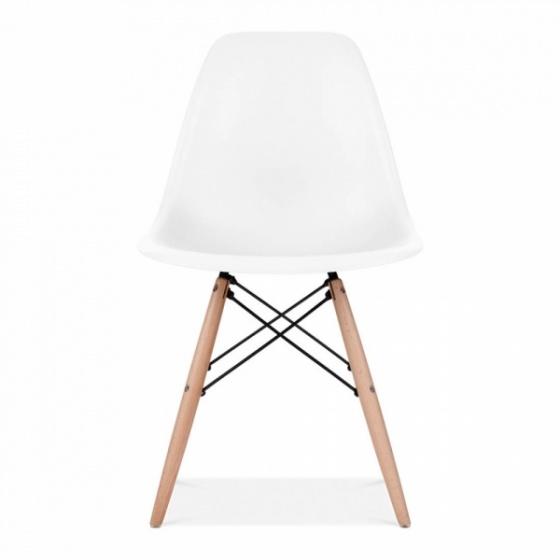 Bộ bàn làm việc CZN-Havant gỗ tự nhiên sơn trắng chân trắng và ghế eames trắng - COZINO