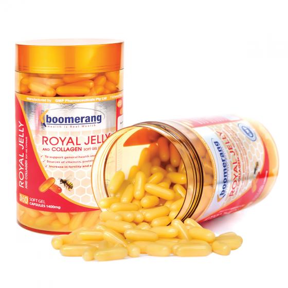 Thực phẩm chức năng viên uống sữa ong chúa và collagen Boomerang (120viên)