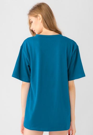 Áo thun unisex cổ V tay ngắn Kassun xanh dương