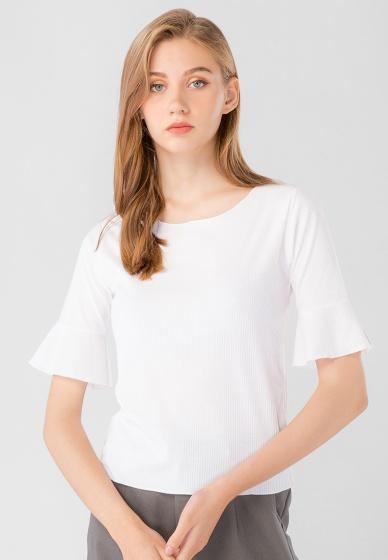 Áo kiểu nữ cổ tròn tay bèo lỡ Kassun trắng trơn
