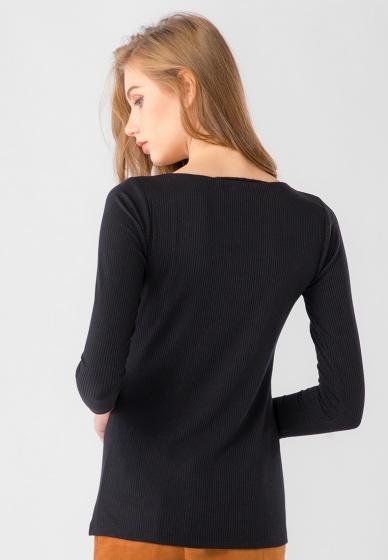 Áo thun nữ cổ tròn tay dài Kassun đen