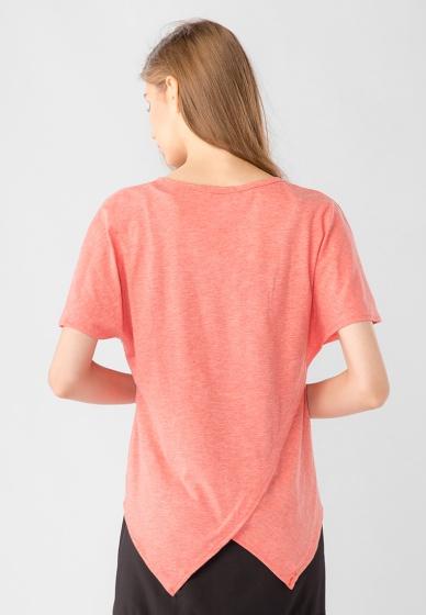 Áo kiểu nữ cánh dơi cổ tròn tà chéo Kassun cam