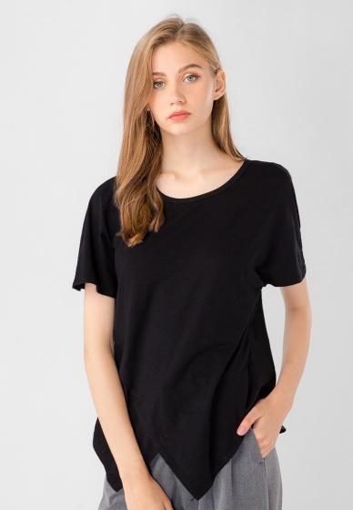 Áo kiểu nữ cánh dơi cổ tròn tà chéo Kassun đen