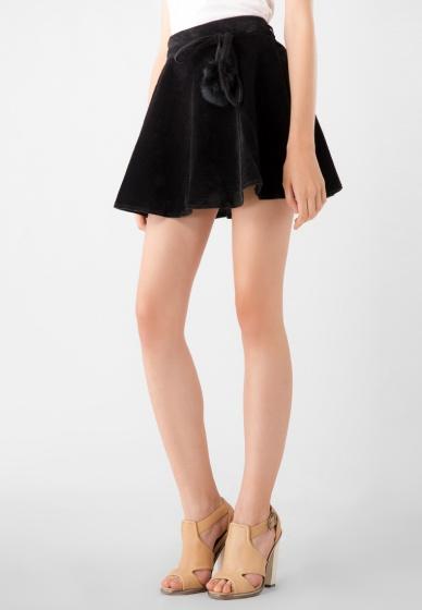 Chân váy ngắn nữ nhung thắt dây kiểu Kassun