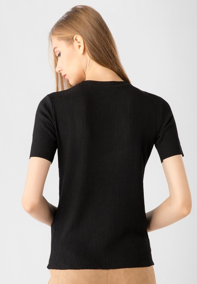 Áo len nữ cổ tròn tay ngắn Kassun đen