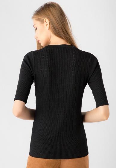 Áo len nữ cổ tròn tay lỡ Kassun đen