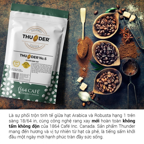 220g Thunder No.3 nguyên hạt pha phin Gu Việt – 1864 CAFÉ®
