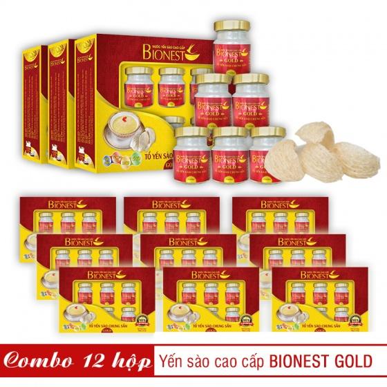 12 Hộp yến sào Bionest Gold cao cấp - hộp quà tặng 6 lọ