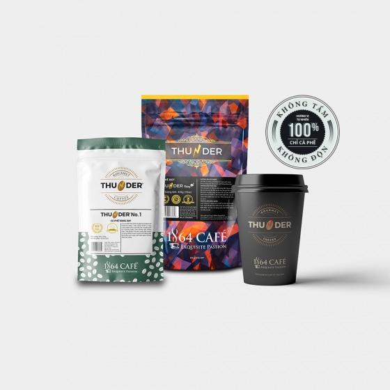 Combo 02 bao cà phê hạng 1 sàng 18/64 in (tcvn 4193:2014) thunder no.2 (bột) tổng khối lượng tịnh 440g (có quà tặng)
