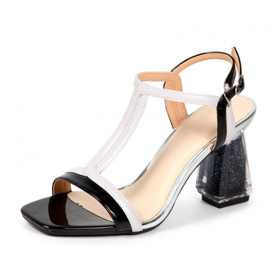 Sandal gót meca (S07010 - kem đen)