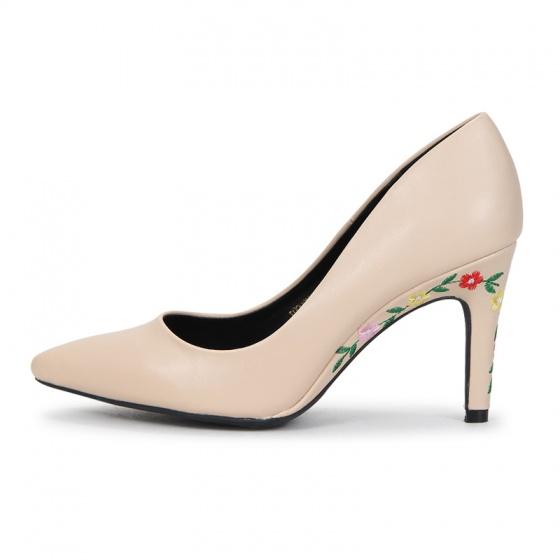 H09003 - giày cao gót trơn ( kem)