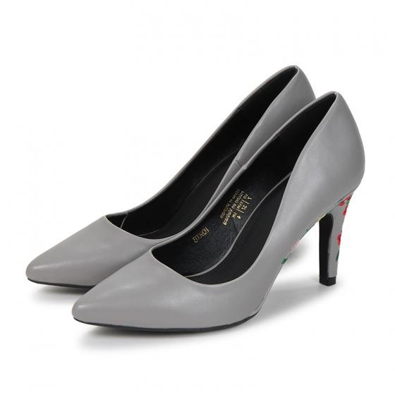 H09003 - Giày cao gót trơn ( xám)