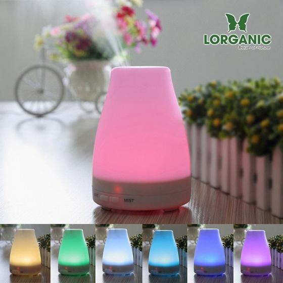Combo máy khuếch tán tinh dầu led 7 màu FX2012 + tinh dầu sả chanh +tinh dầu bưởi + tinh dầu cam Lorganic (10ml x3)