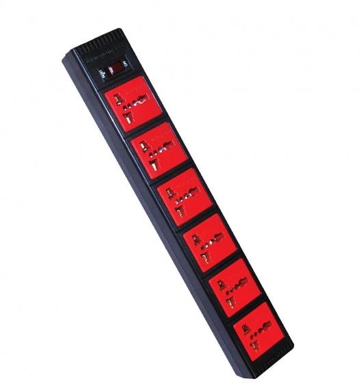 Ổ cắm Điện Quang ECO ĐQ ESK 5BR 63ECO (6 Lỗ 3 chấu, dây dài 5m, màu đen đỏ)