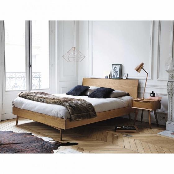 Giường đôi Portobello gỗ tự nhiên 1m6 - Cozino