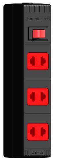 Ổ cắm Điện Quang ECO ĐQ ESK 2BR 32 ECO (3 lỗ 2 chấu , dây dài 2m màu đen đỏ)