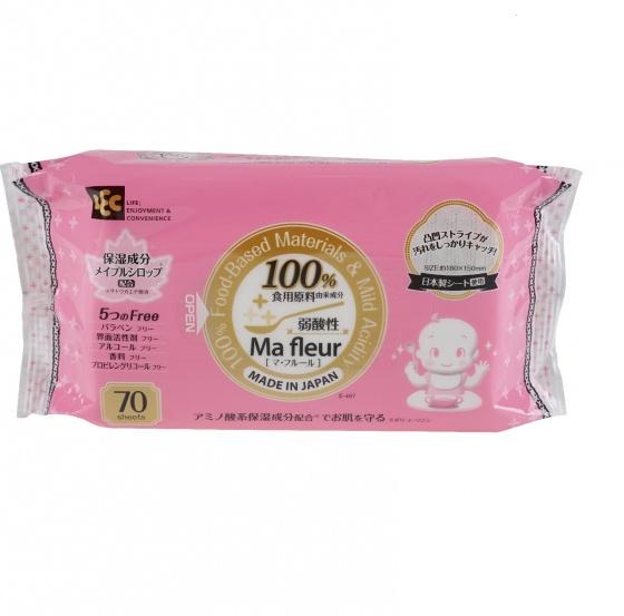 Giấy ướt cao cấp cho tay và miệng 100% nguyên liệu thực phẩm tự nhiên Ma Fleur  SS-497 70 tờ