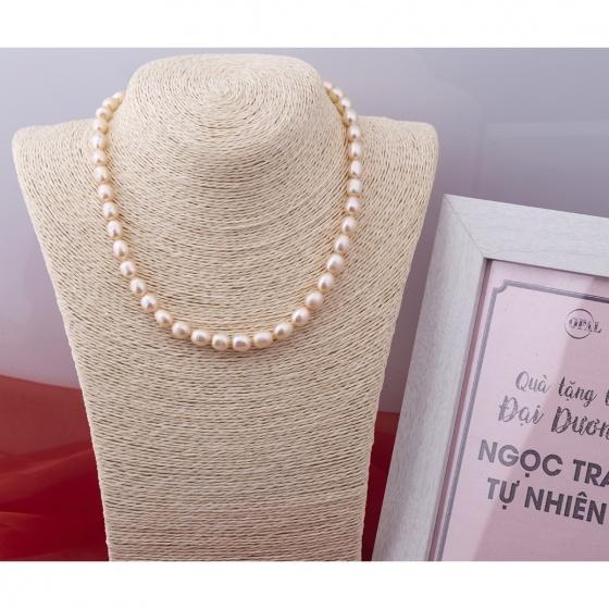 Opal- Chuỗi ngọc trai oval hồng _T10