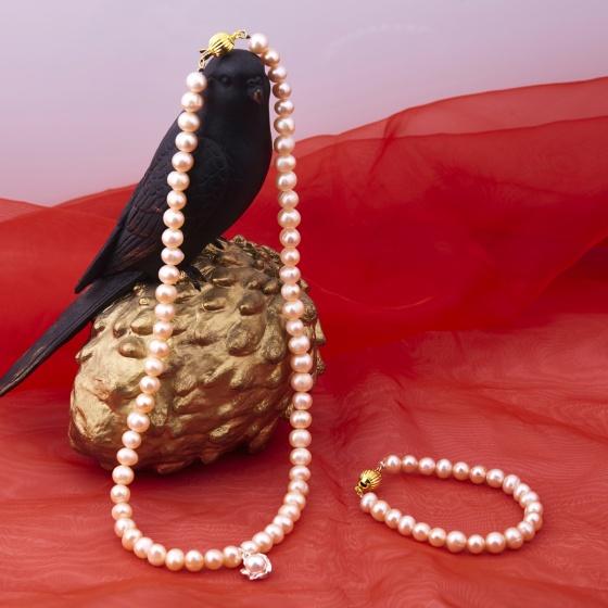 Opal - Bộ vòng cổ và vòng tay ngọc trai hồng_T10