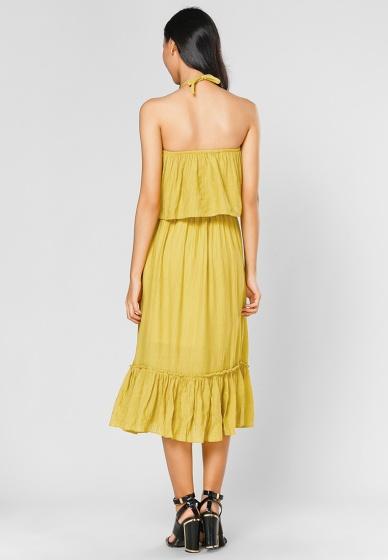 Đầm maxi cách điệu lilya - freesize (vàng)