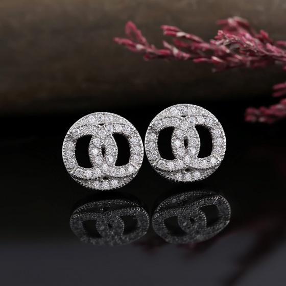 Bông tai bạc Chanel Circle