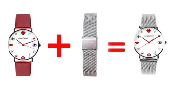 Đồng hồ nữ MS520C Mangosteen Seoul Hàn Quốc (đỏ)  + tặng dây thép (màu bạc)