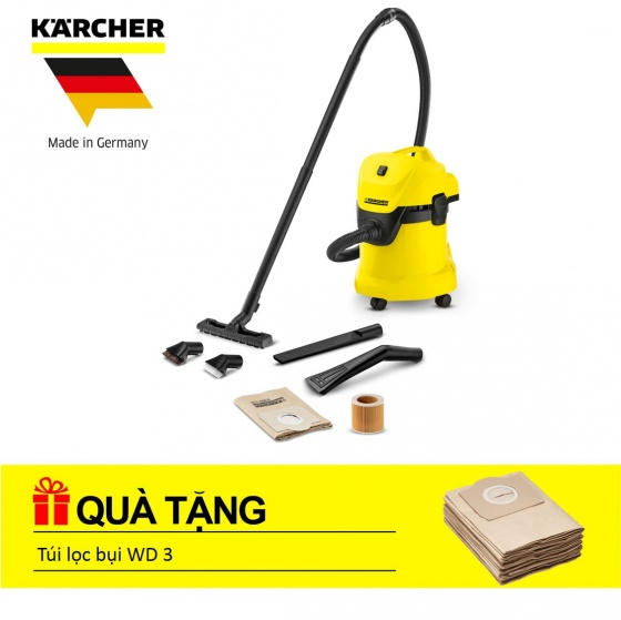 Máy hút bụi khô & ướt Karcher WD 3 Car + túi lọc bụi WD3_bộ 5 cái