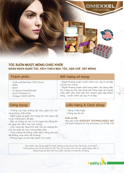 Bộ viên uống chống lão hóa, giảm thâm nám, ngăn rụng tóc Omexxel Skin-Collagen- Hair/Nail (90 Viên) - Xuất xứ Mỹ