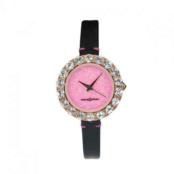 Đồng hồ nữ MS512D Mangosteen Seoul Hàn Quốc dây da (hồng đậm)