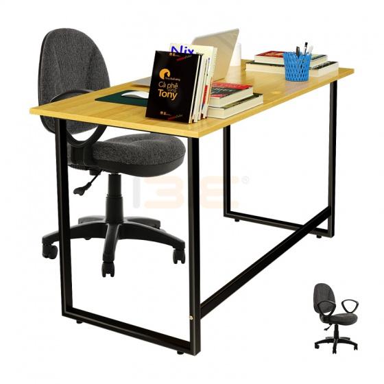 Bộ bàn Rec-F đen gỗ cao su và ghế IB505 có tay đen