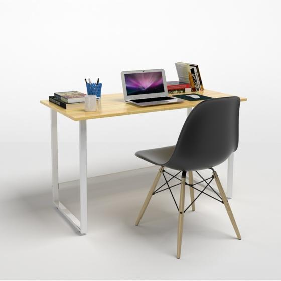 Bộ bàn Rec-F trắng 1m2  gỗ cao su và ghế Eames đen - IBIE