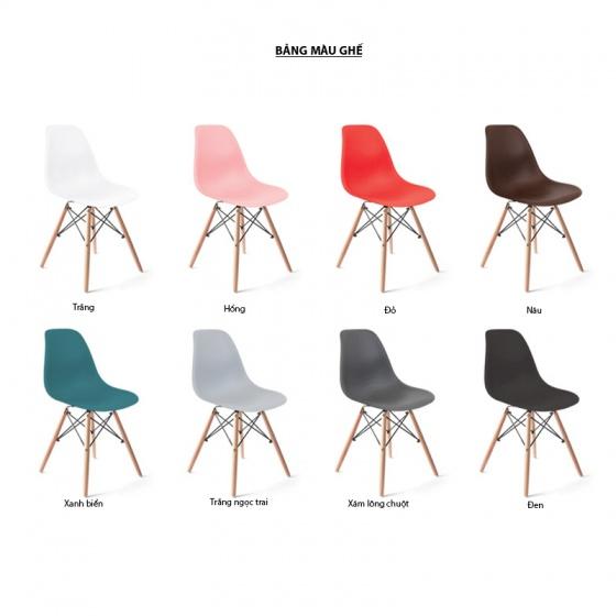 Bộ bàn Rec-F trắng 1m2 gỗ cao su  và ghế Eames trắng - IBIE