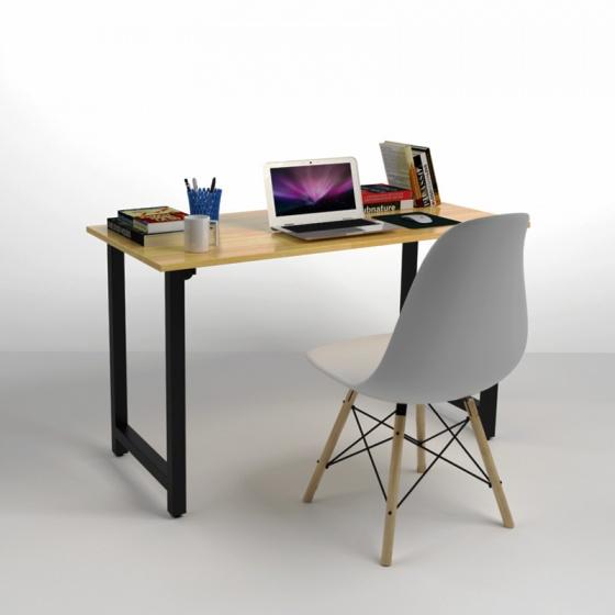 Bộ bàn Rec-T đen 1m2 và ghế Eames trắng - IBIE