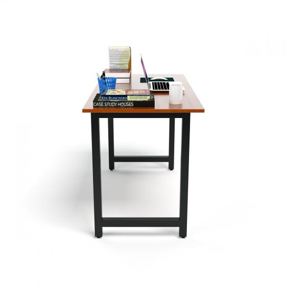 Bộ bàn Rec-T đen màu cánh gián gỗ cao su và ghế Eames chân gỗ trắng