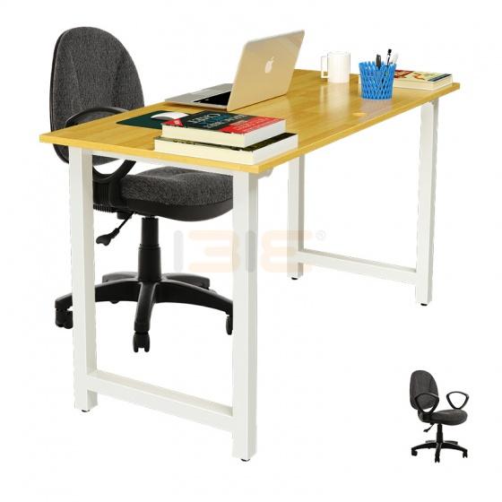 Bộ bàn Rec-T trắng gỗ cao su và ghế IB505 có tay đen