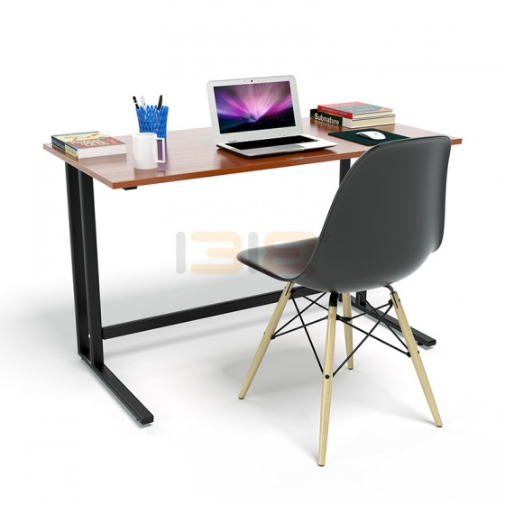 Bộ bàn Rec-U đen màu cánh gián gỗ cao su và ghế Eames chân gỗ đen