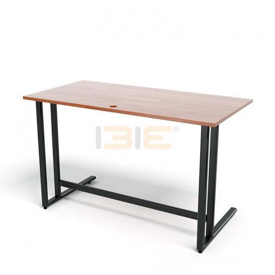 Bộ bàn Rec-U đen màu cánh gián gỗ cao su và ghế Eames chân gỗ trắng