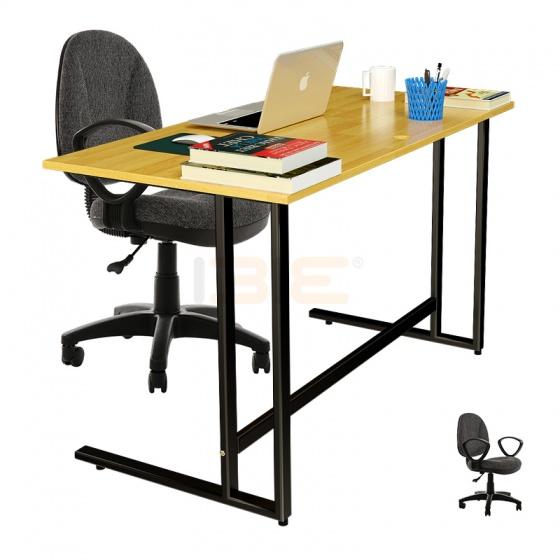 Bộ bàn Rec-U đen gỗ cao su và ghế IB505 có tay đen