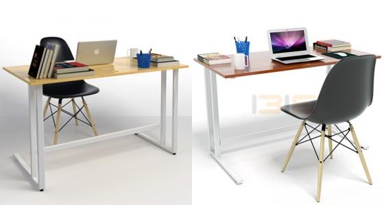 Bộ bàn Rec-U trắng 1m2 gỗ cao su và ghế Eames đen - IBIE