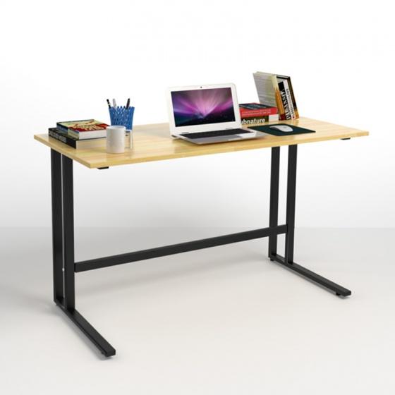 Bộ bàn Rec-U trắng gỗ cao su và ghế IB16A đen