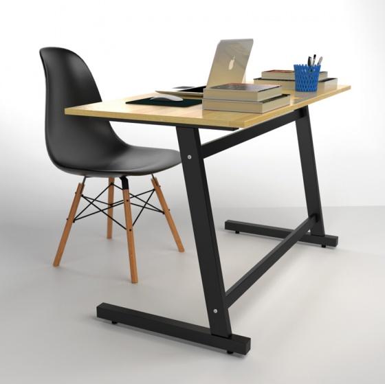 Bộ bàn Rec-Z đen 1m2 gỗ cao su và ghế Eames chân gỗ đen - IBIE