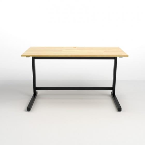 Bộ bàn Rec-Z đen 1m2 gỗ cao su và ghế Eames chân gỗ trắng