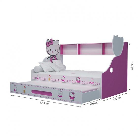 Giường tầng thấp Hello Kitty 1m4