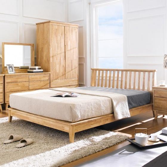 Giường đôi Ixora 100% gỗ cao su 2m0 - Cozino