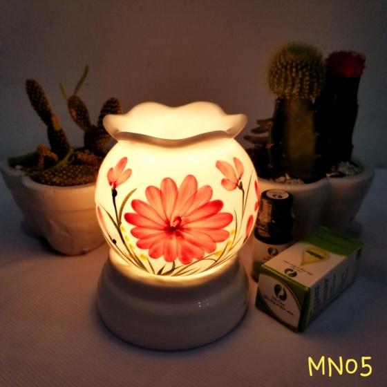 Đèn xông tinh dầu mini tặng 01 lọ tinh dầu sả chanh 5ml NuCare và 01 bóng đèn dự phòng (MN05)