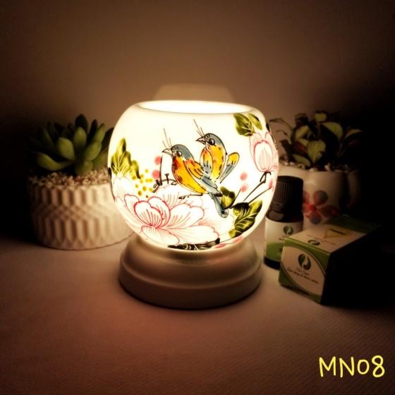 Đèn xông tinh dầu mini tặng 01 lọ tinh dầu sả chanh 5ml NuCare và 01 bóng đèn dự phòng (MN08)