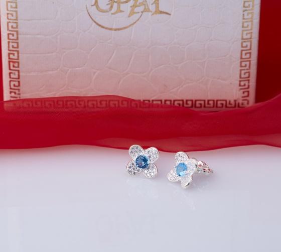 Opal - Hoa tai bạc bốn cánh hoa đính đá ross xanh_T11