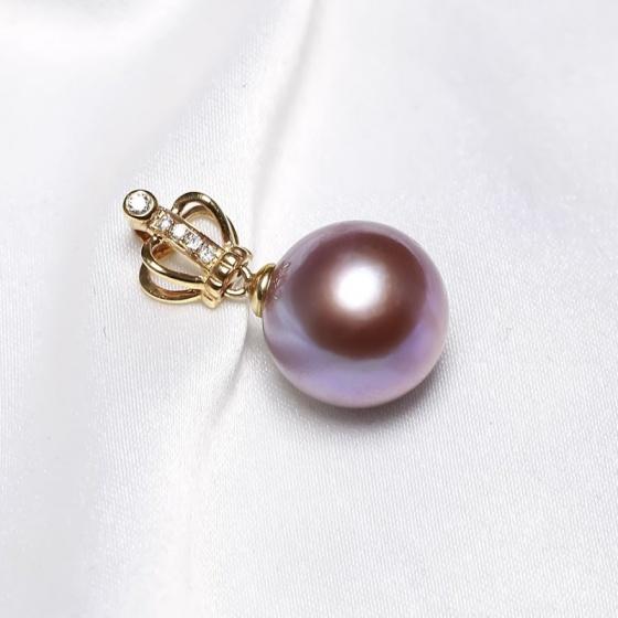 Mặt dây chuyền vàng 18k ngọc trai thật 9.5-10mm đính kim cương Beto