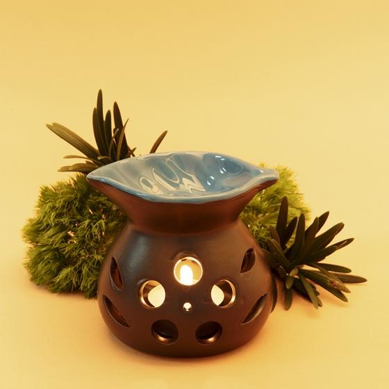 Đèn nến đốt tinh dầu Lorganic DX0003 hình chiếc lá màu xanh dương